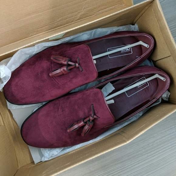 5608288a72b ASOS tassel loafers in burgundy faux suede